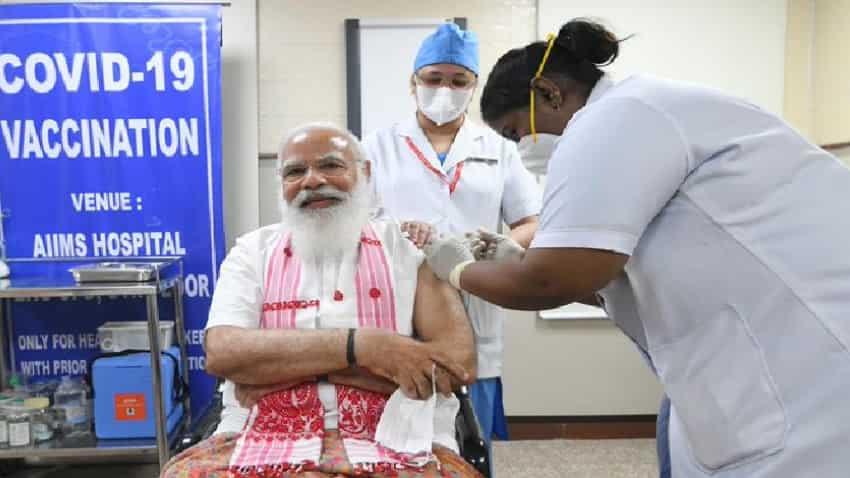 Covid vaccine news: PM Modi ने AIIMS पहुंच कर लगवाया कोविड का पहला टीका,  आपके लिए कही ये बात | Zee Business Hindi
