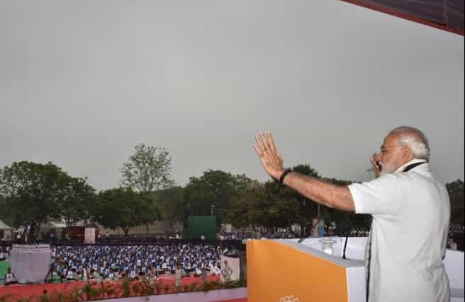 Addressing the crowd gathered in Chandigarh, PM Modi urged people to take up Yoga as a way of life. Twitter