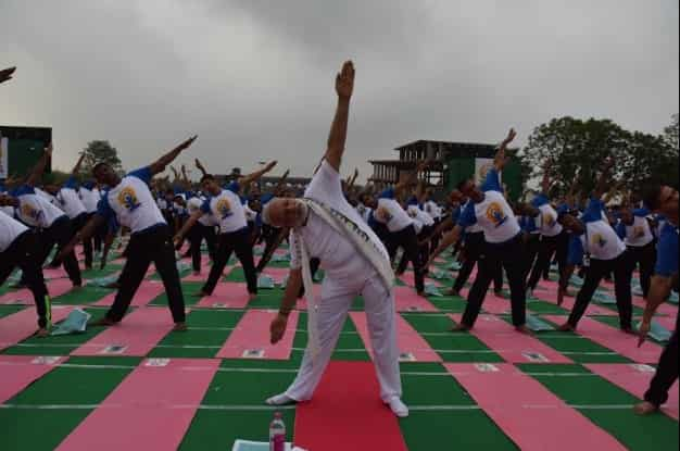 PM Modi, at the International Yoga Day celebration in Chandigarh. Twitter
