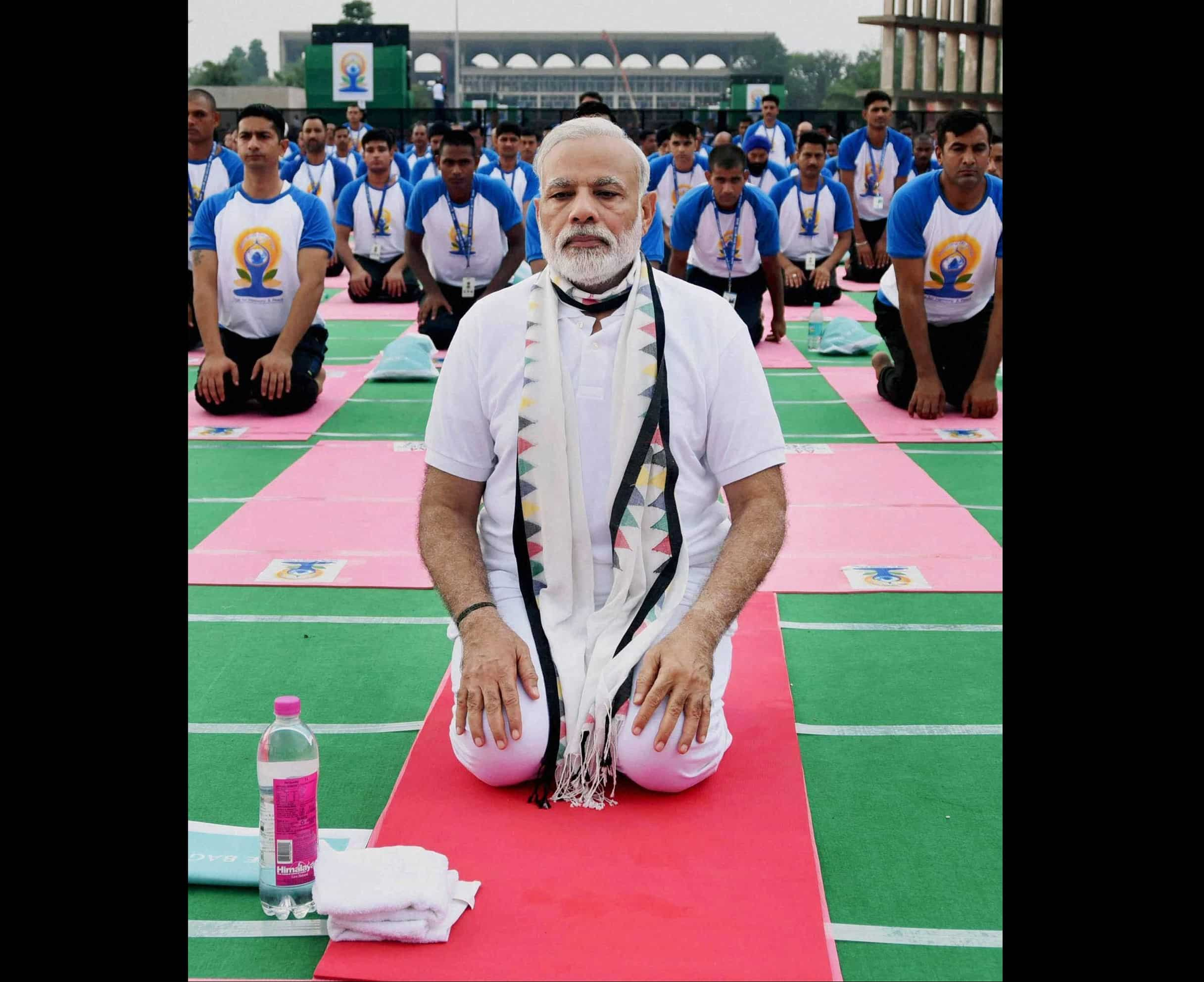 Chandigarh: Prime Minister Narendra Modi takes part in a mass yoga event on the 2nd International Day of Yoga at Capitol Complex. PTI