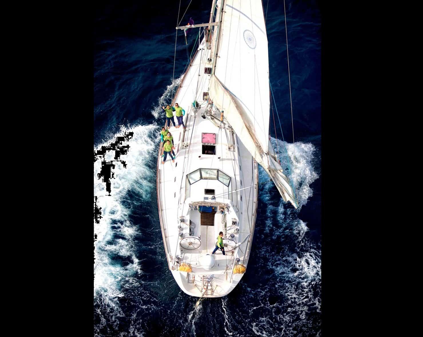 First open-ocean voyage of the Navy's all-women crew. Twitter