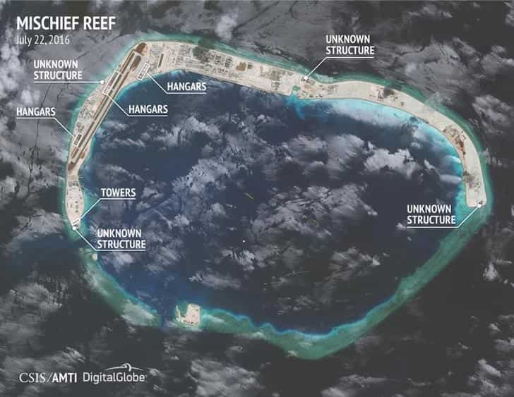 Satellite image by CSIS shows construction on Mischief Reef in the Spratly islands, in the disputed South China Sea. Reuters