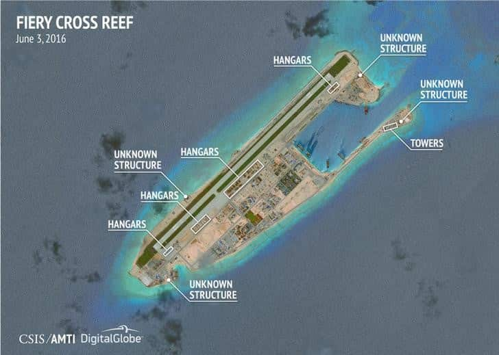 Satellite image by CSIS shows construction on Fiery Cross Reef in the Spratly islands, in the disputed South China Sea. Reuters