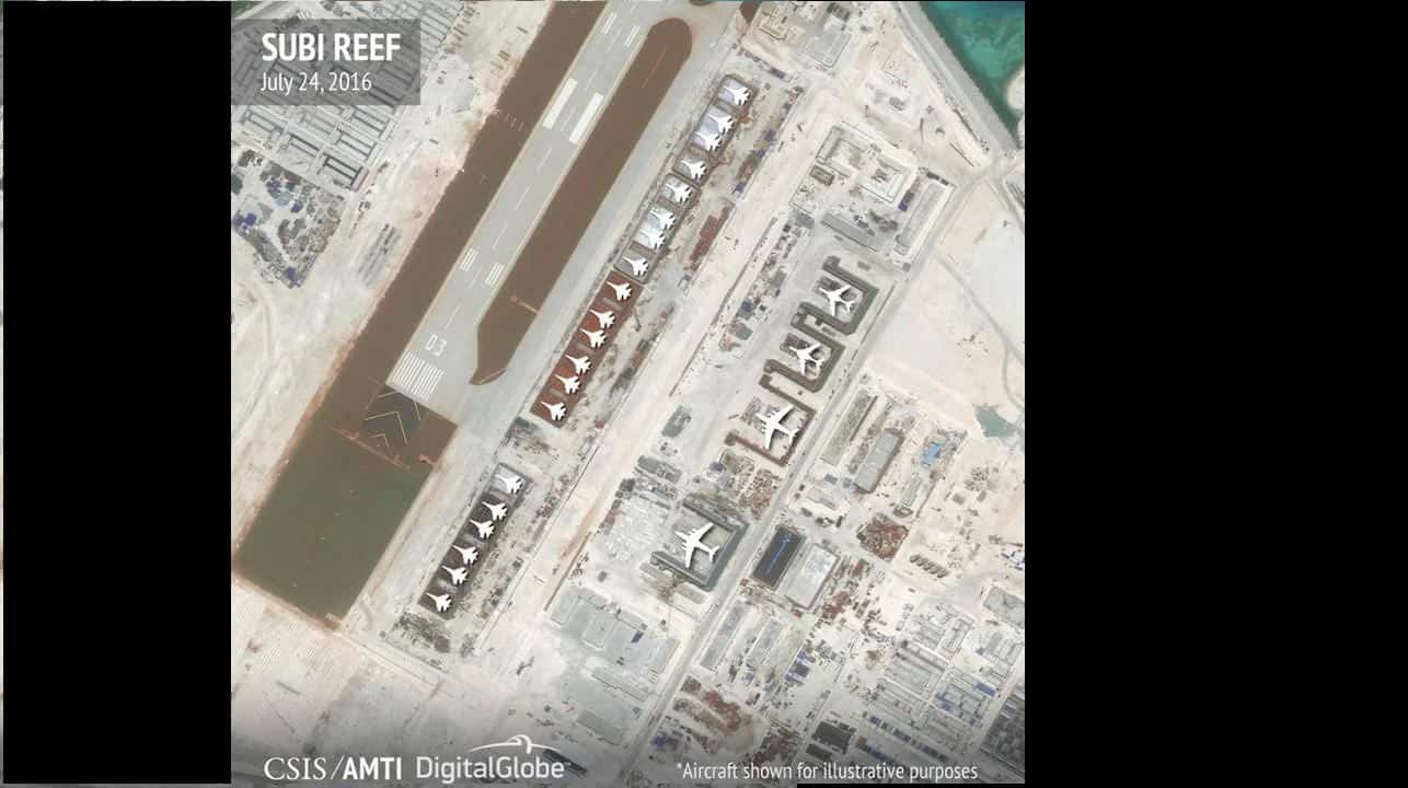 The hangars on Fiery Cross, Subi and Mischief Reefs in the Spratly islands have room for any fighter jet in the Chinese air force. Reuters