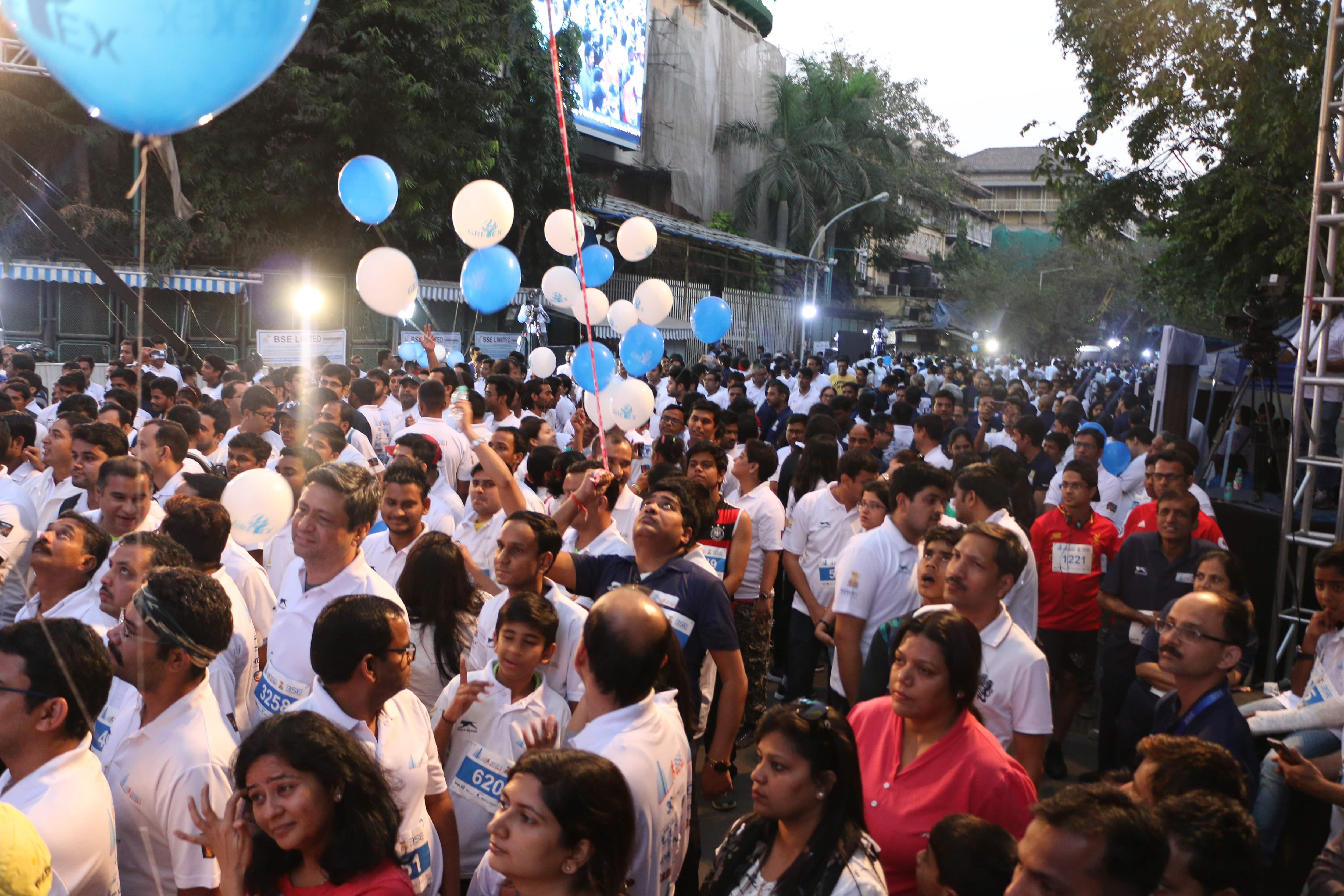 BSE Bull Run 2017: Participants waiting to be flagged off.