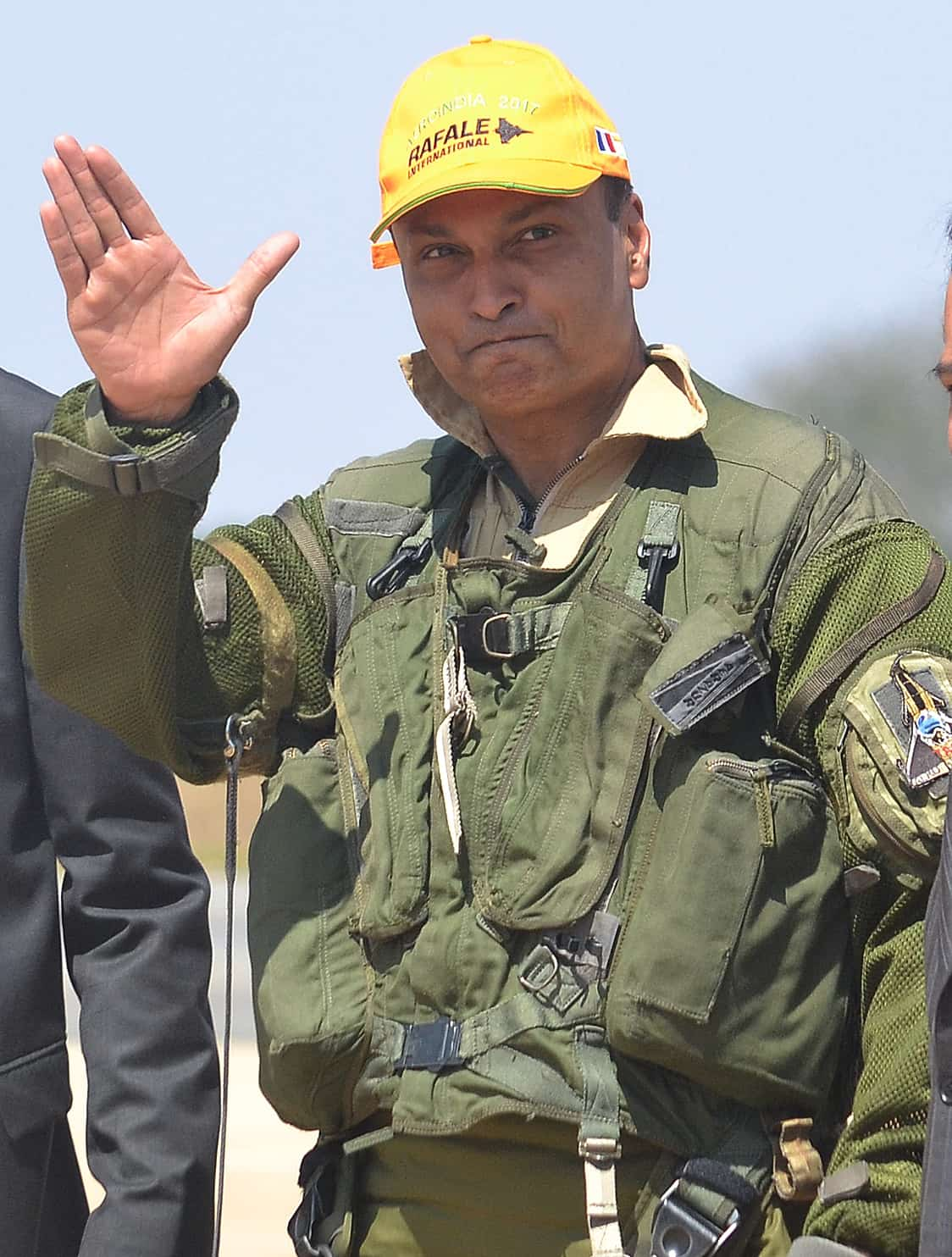Ambani arrives to fly in the cockpit of a Rafale fighter during Aero India 2017