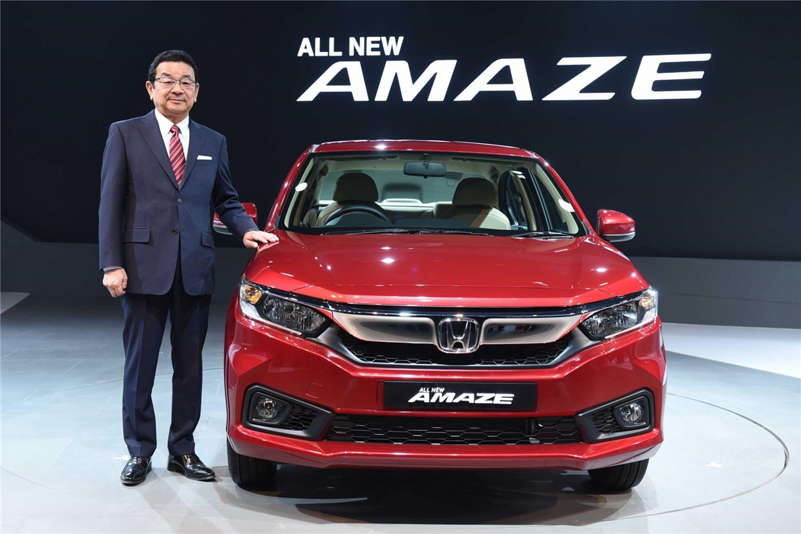 Takahiro Hachigo, President & Representative Director, Honda Motor Co., Ltd at the global unveiling of next generation Honda Amaze at Auto Expo 2018.