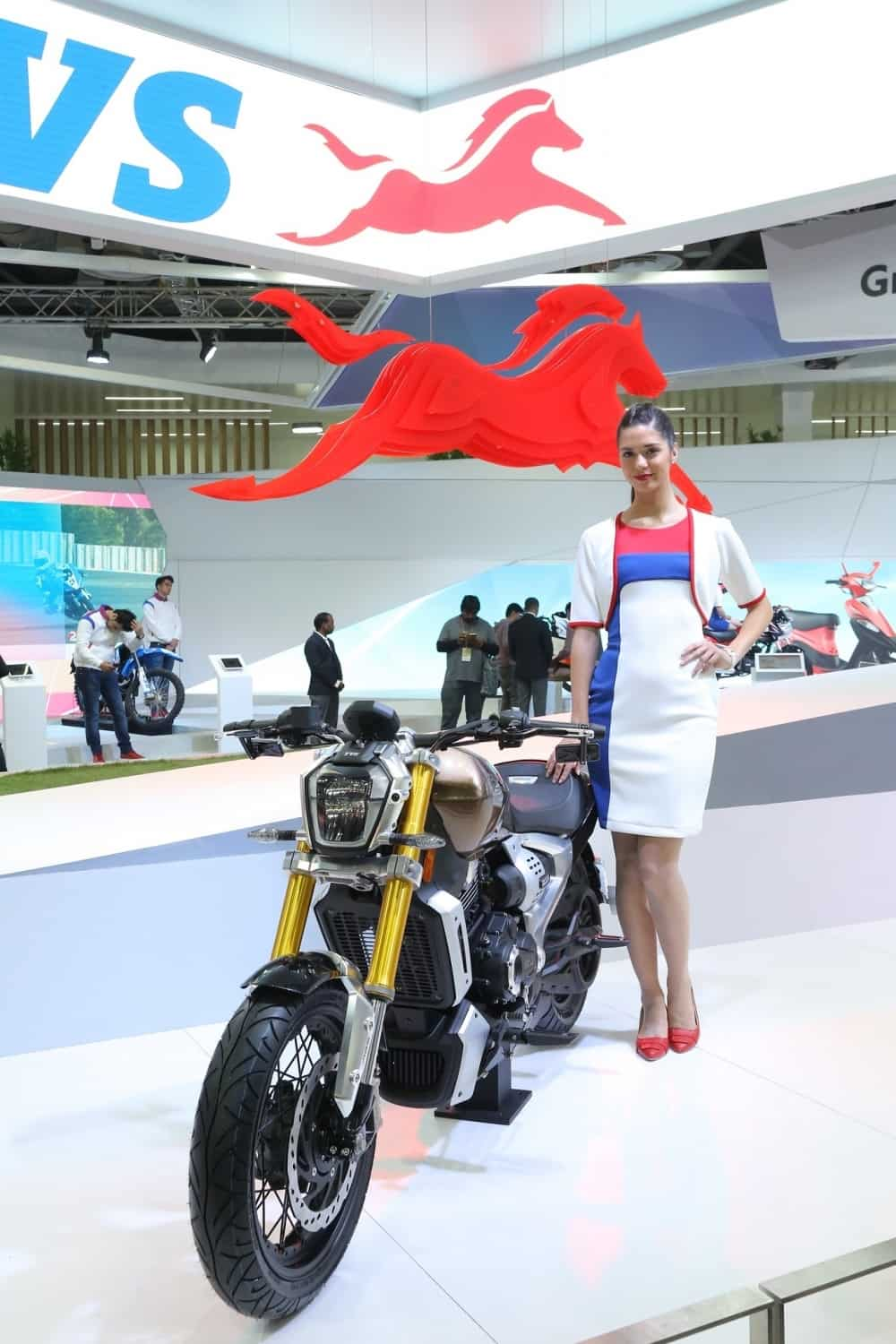 A view of the TVS Zeppelin cruiser motorcycle at the Auto Expo 2018. IANS