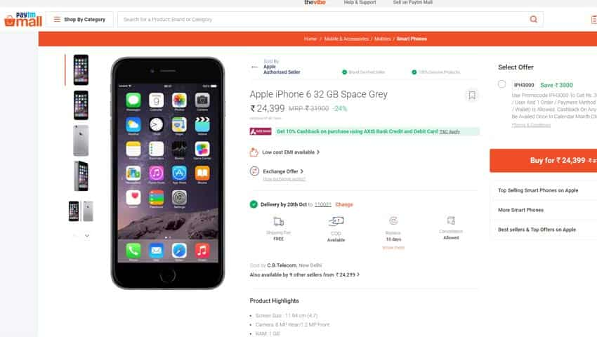 Rs 3,000 Cashback on Apple iPhone 6