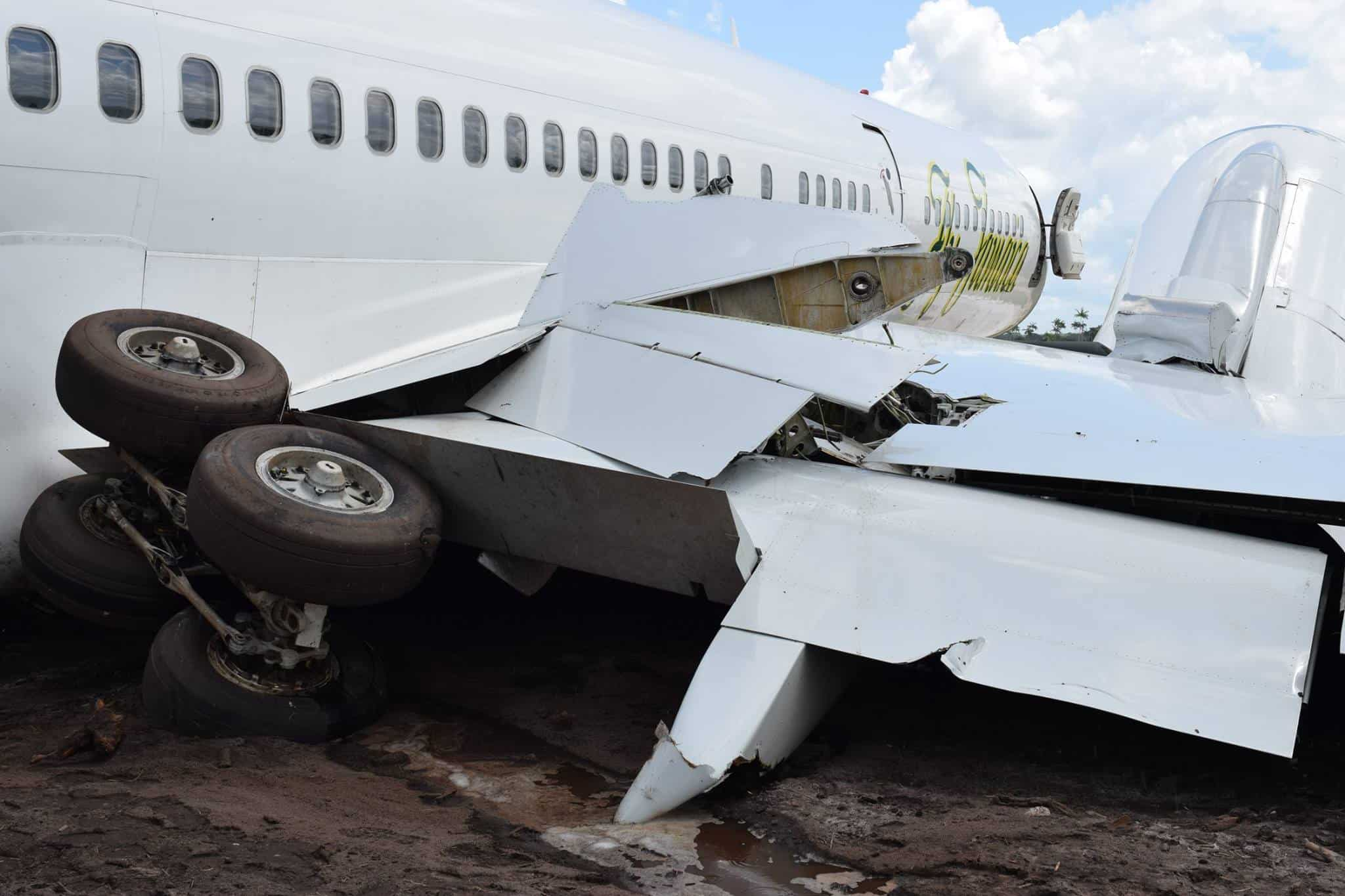 Fly Jamaica Aircraft Accident: Landing gear Upturned