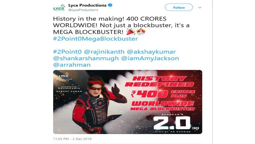 2.0 Box Office Collection: Historic Rs 400 Crore Record