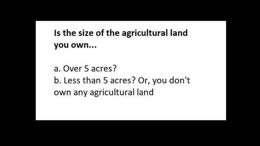 General Category Reservation Calculator:  What is the size of agricultural land you own?