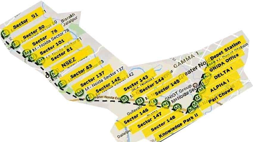 Noida-Greater Noida Aqua Line Metro Route Map