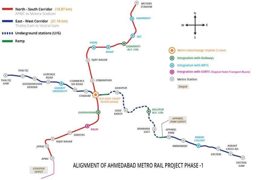 Ahmedabad Metro Rail: Route map