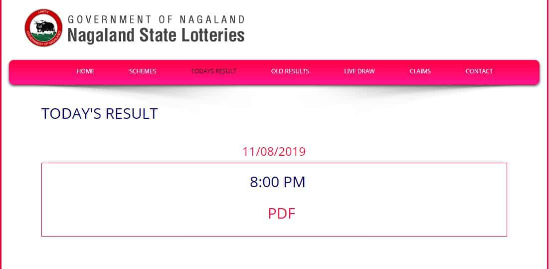 Nagaland Dear Hawk Evening Lottery Result Out today at 8 pm