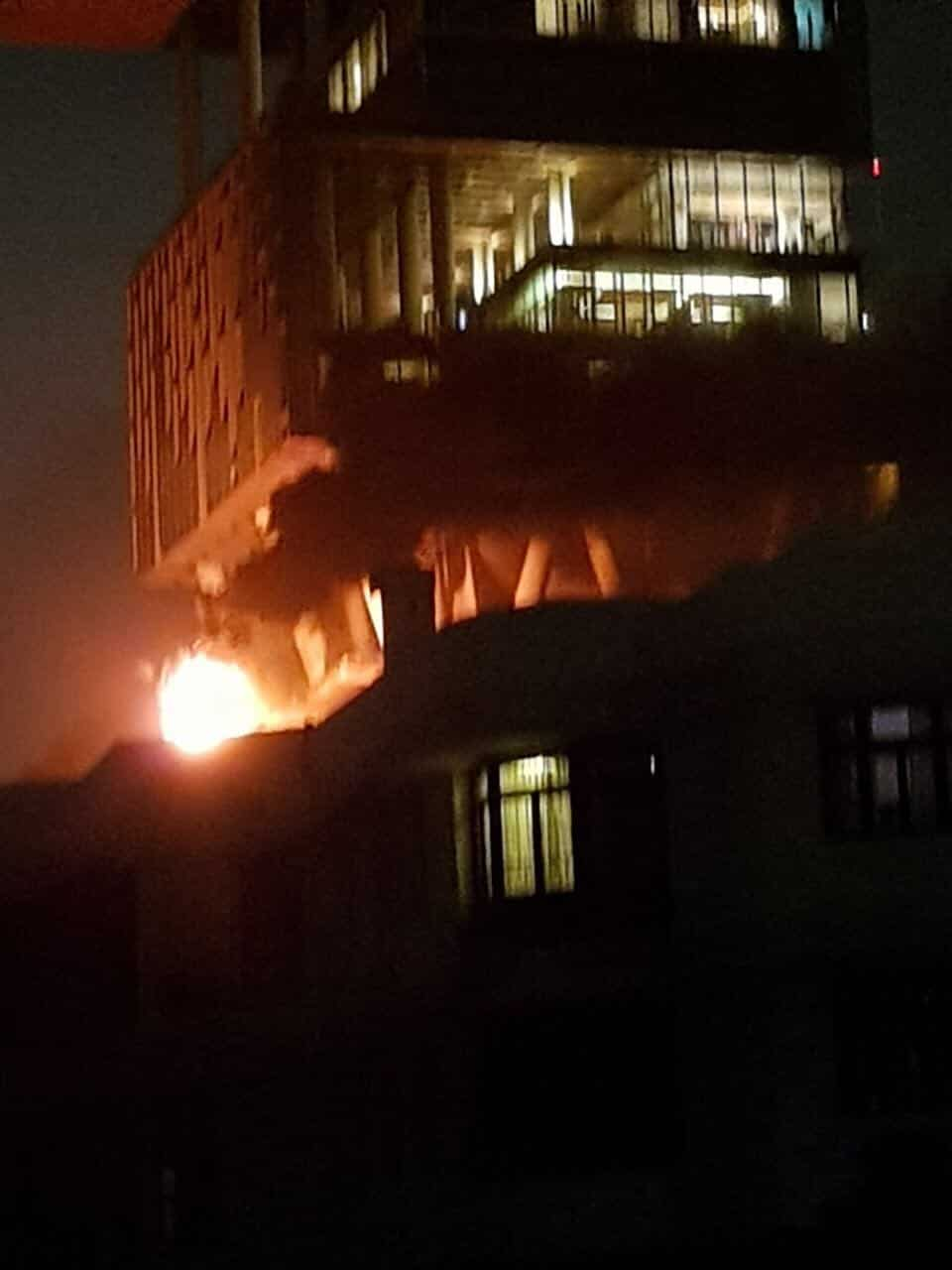 Mumbai: A fire broke out on a terrace in industrialist Mukesh Ambani's multi-storied south Mumbai residence 'Antilla' on July 10, 2017. (Photo: IANS)