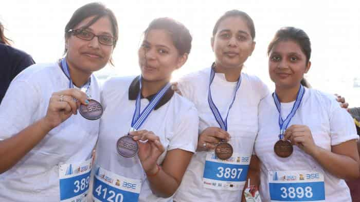 Participants of the BSE Bull Run 2017 in high spirits.