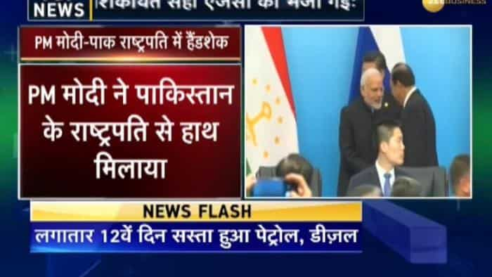 Modi and Pakistani President Mamnoon Hussain  shook hands and exchanged pleasantries