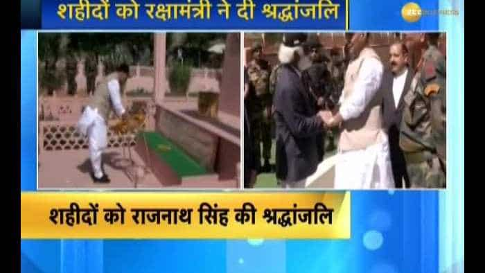 Rajnath Singh pays tributes to martyred soldiers at Kargil War Memorial in Drass