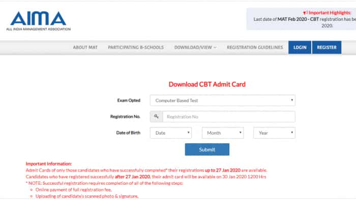 MAT Admit Card 2020 released, Visit @mat.aima.in