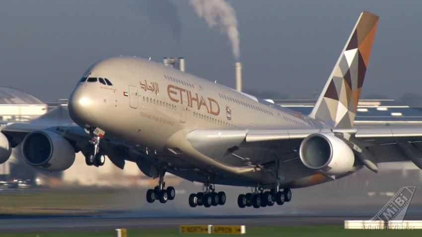 Etihad Airways A380 lands at Mumbai Airport