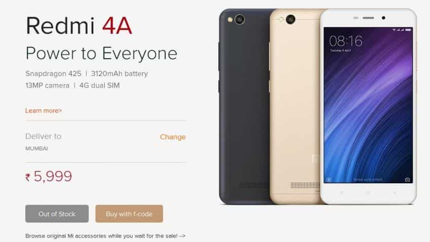 Xiaomi Redmi 4A flash sale goes out of stock within minutes