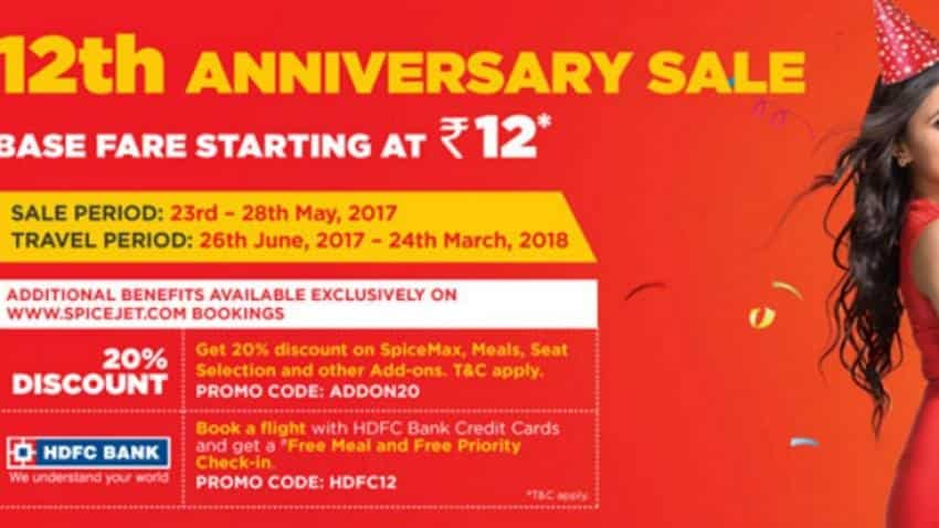 6ca4d0abea4 Spicejet 12th anniversary sale  Airfares starting at Rs 12!