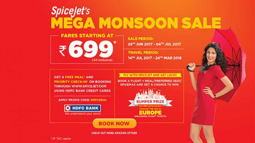 Spicejet announces all inclusive Mega Monsoon sale starting at Rs 699