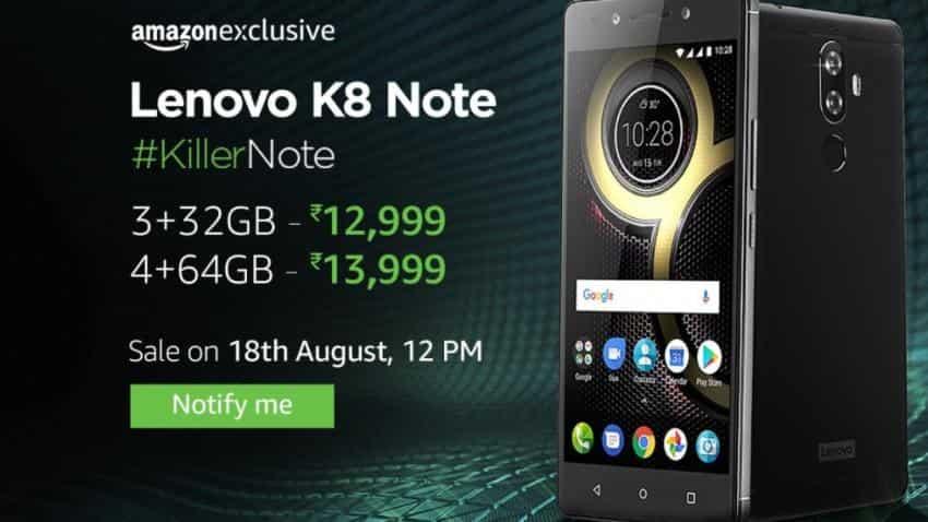 Amazon Exclusive: Lenovo K8 Note to go on sale tomorrow