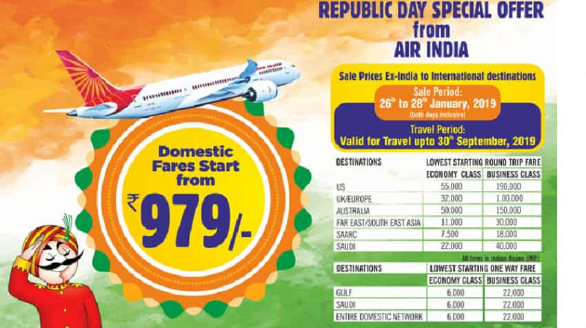 Wow Flight Tickets At Just Rs 979 Air India Republic Day Sale To End On This Date Check How To Book Cheap Air Tickets Zee Business