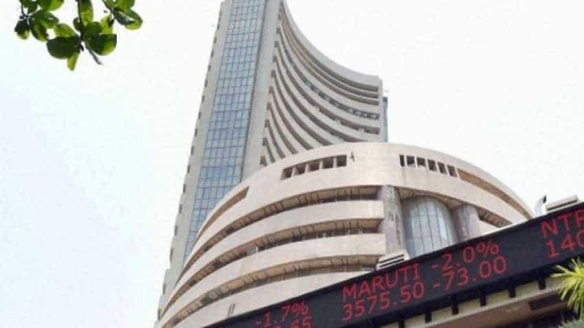 Sensex gains 110 points, Nifty Bank shot up 150 points; Oberoi Realty, DLF, RCom stocks gain