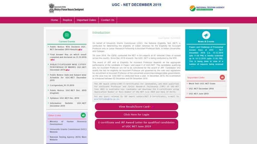UGC NET December 2019 Result: Alert! Result declared by NTA at ugcnet.nta.nic.in