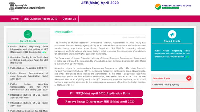 JEE Main 2020 application process reopened at eemain.nta.nic.in: You can apply before this date