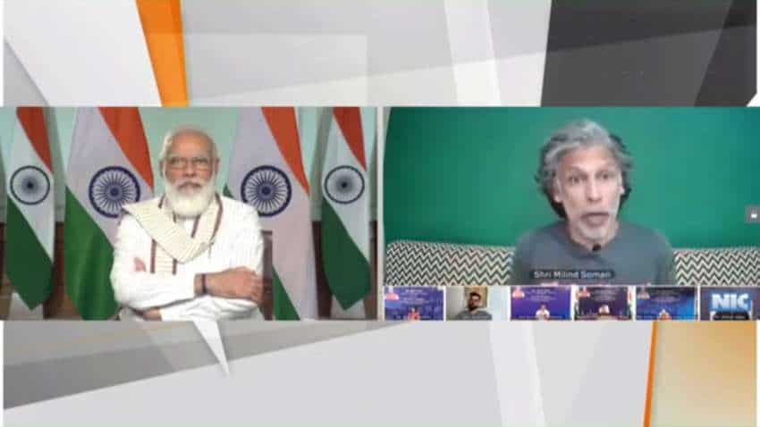 PM Narendra Modi to Milind Soman at Fit India Dialogue: Surprised to see your mother do push ups at 81, watched video 5 times