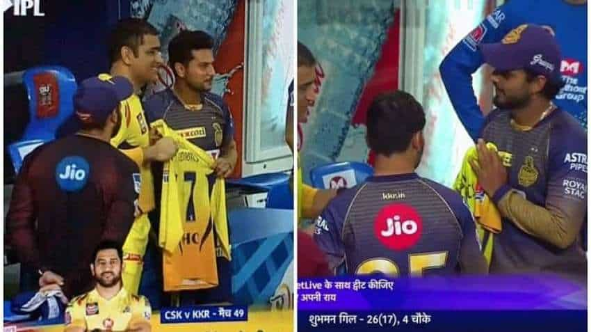 Once a legend, always a legend: MS Dhoni gifts number 7 jersey to Nitish Rana, Kuldeep Yadav; clip goes viral