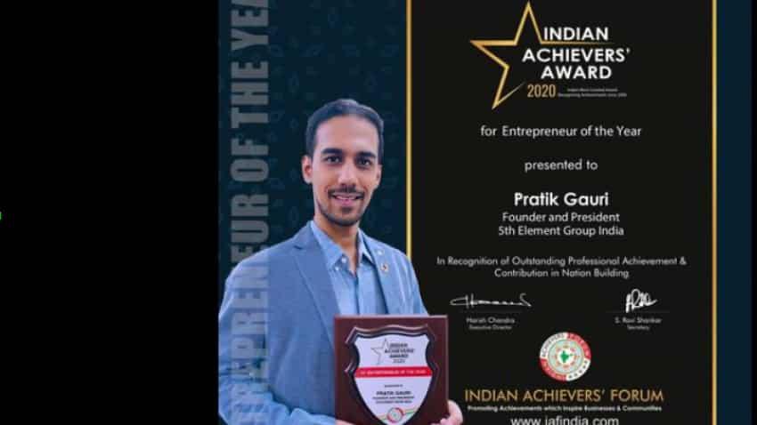 Pratik Gauri wins Entrepreneur Of The Year 2020 award by Indian Achievers' Forum