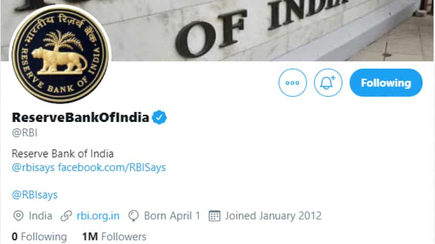 Over 1 million followers! RBI Twitter handle creates world record; beats powerful US Federal Reserve, European Central Bank