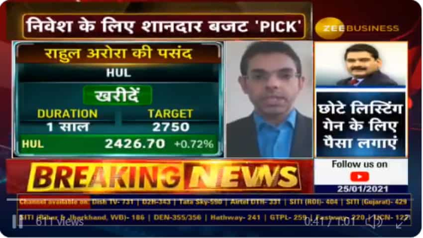 Budget 2021 Stocks With Anil Singhvi – HUL is a TOP stock from budget standpoint, says Expert Rahul Arora