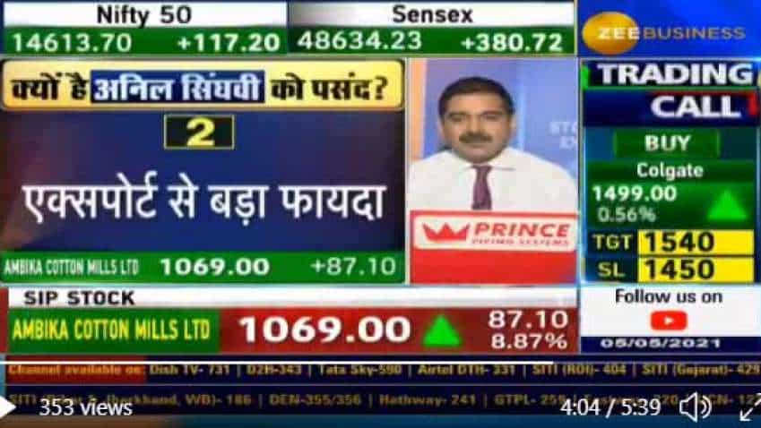 Anil Singhvi picks Ambika Cotton Mills as his SIP STOCK today; know the reason WHY